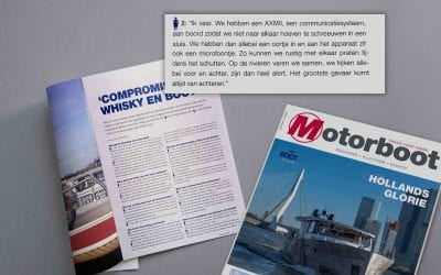 """AXIWI mentioned in Dutch 'Motorboat' magazine: """"We no longer have to shout at each other in a sluice"""""""